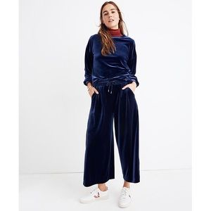Madewell Velvet Huston Navy Pull On Crop Pants M